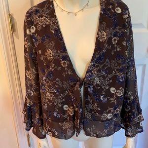 NWT Tie Waist Double Ruffle Sleeve Kimono